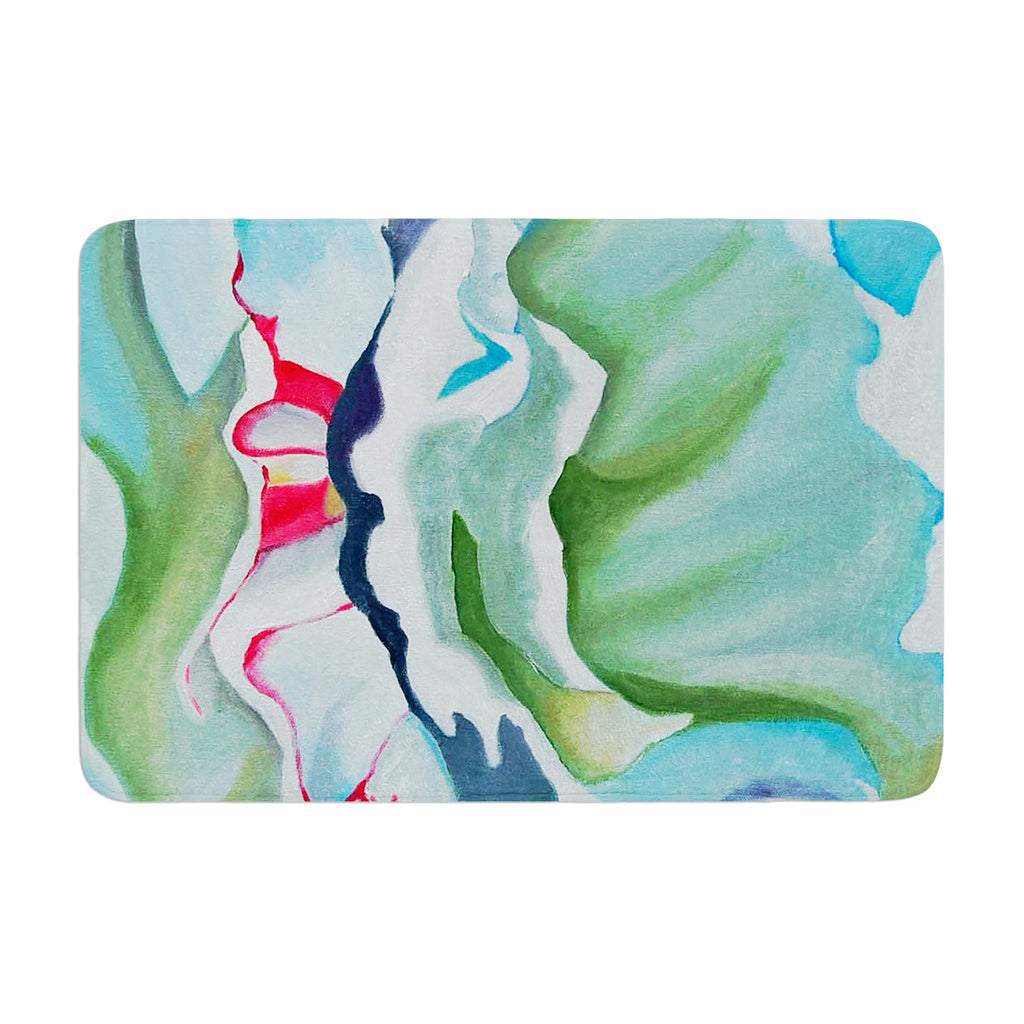 "Cathy Rodgers ""Peony Shadows"" Green Flower Memory Foam Bath Mat - KESS InHouse"