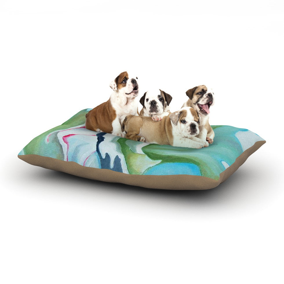 "Cathy Rodgers ""Peony Shadows"" Green Flower Dog Bed - KESS InHouse  - 1"