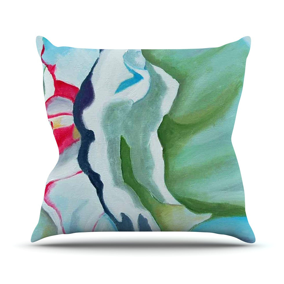 "Cathy Rodgers ""Peony Shadows"" Green Flower Throw Pillow - KESS InHouse  - 1"