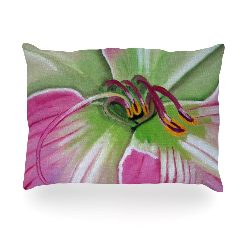 "Cathy Rodgers ""Pink and Green"" Flower Oblong Pillow - KESS InHouse"