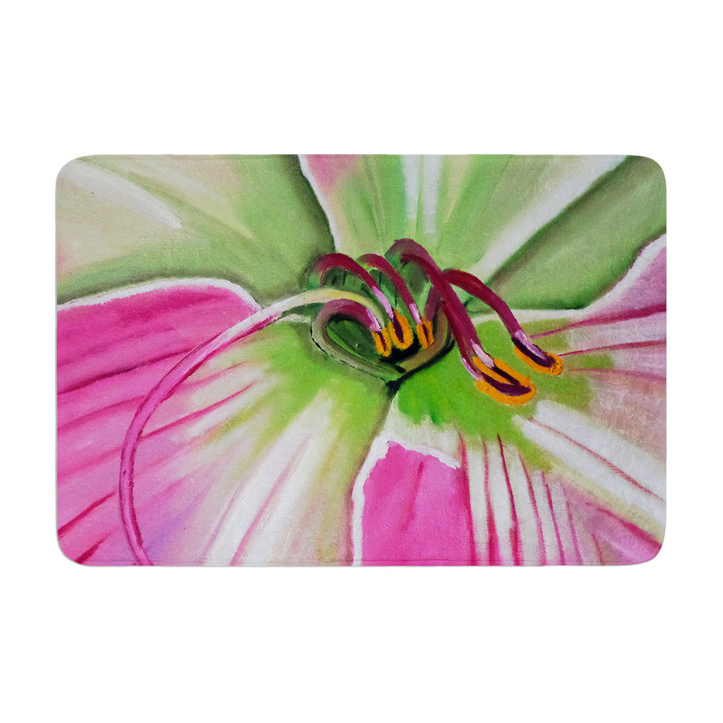 "Cathy Rodgers ""Pink and Green"" Flower Memory Foam Bath Mat - KESS InHouse"