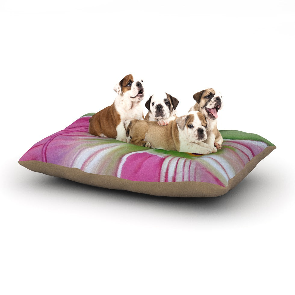 "Cathy Rodgers ""Pink and Green"" Flower Dog Bed - KESS InHouse  - 1"