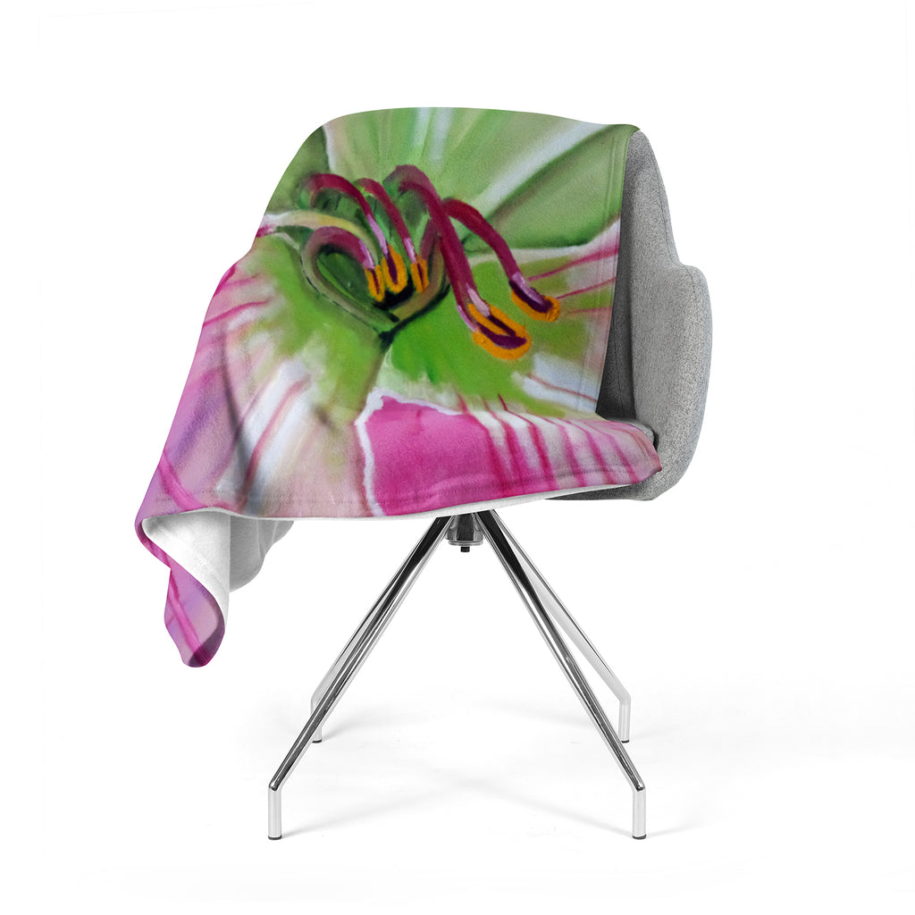 "Cathy Rodgers ""Pink and Green"" Flower Fleece Throw Blanket"