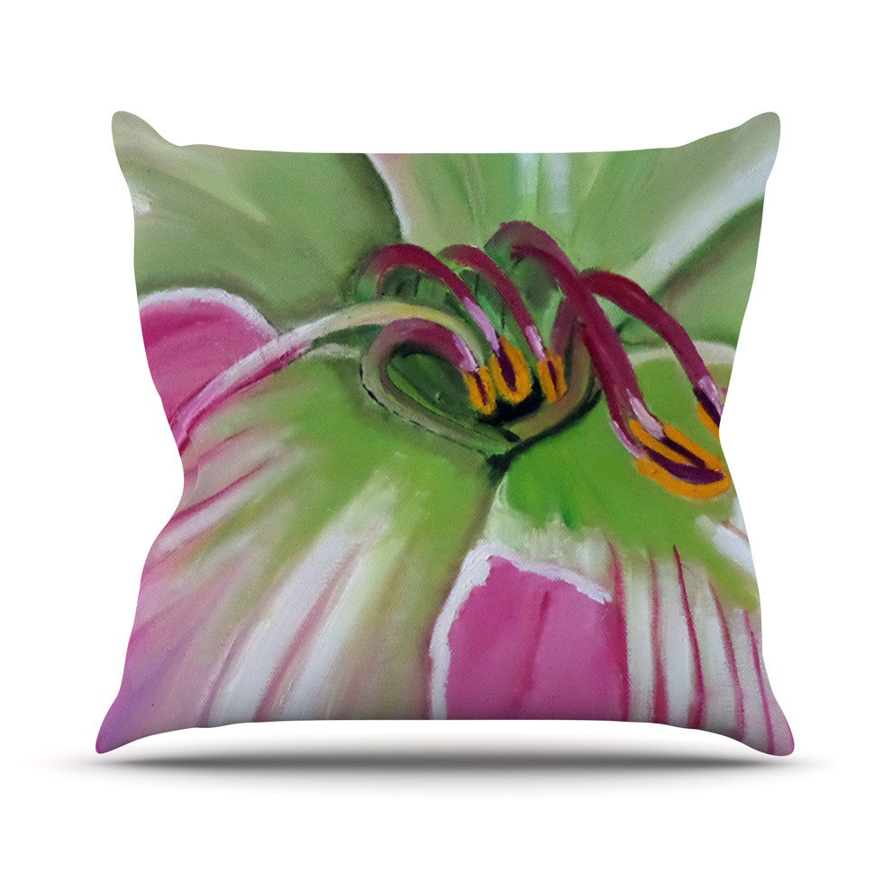 "Cathy Rodgers ""Pink and Green"" Flower Outdoor Throw Pillow - KESS InHouse  - 1"