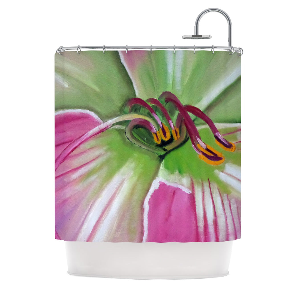 "Cathy Rodgers ""Pink and Green"" Flower Shower Curtain - KESS InHouse"
