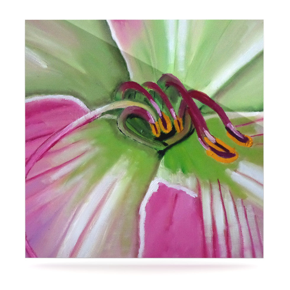 "Cathy Rodgers ""Pink and Green"" Flower Luxe Square Panel - KESS InHouse  - 1"