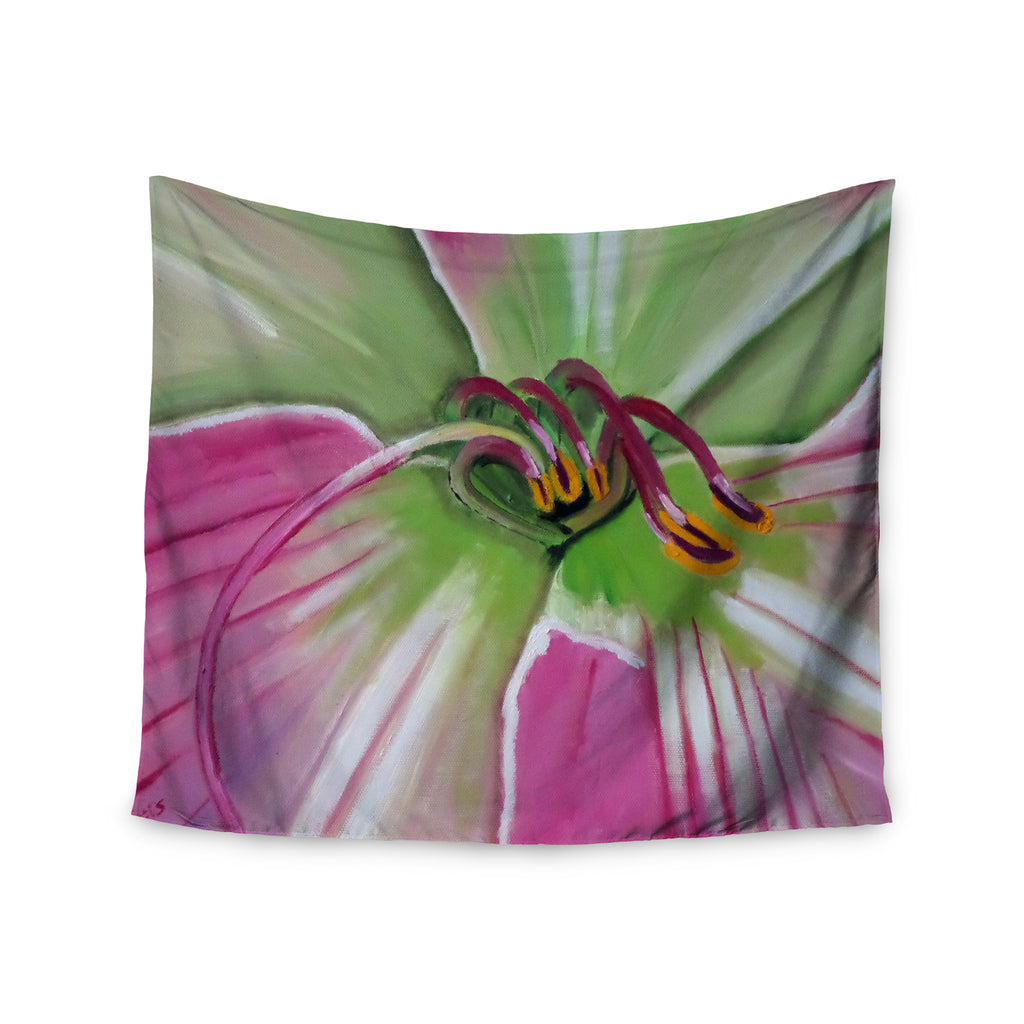 "Cathy Rodgers ""Pink and Green"" Flower Wall Tapestry - KESS InHouse  - 1"