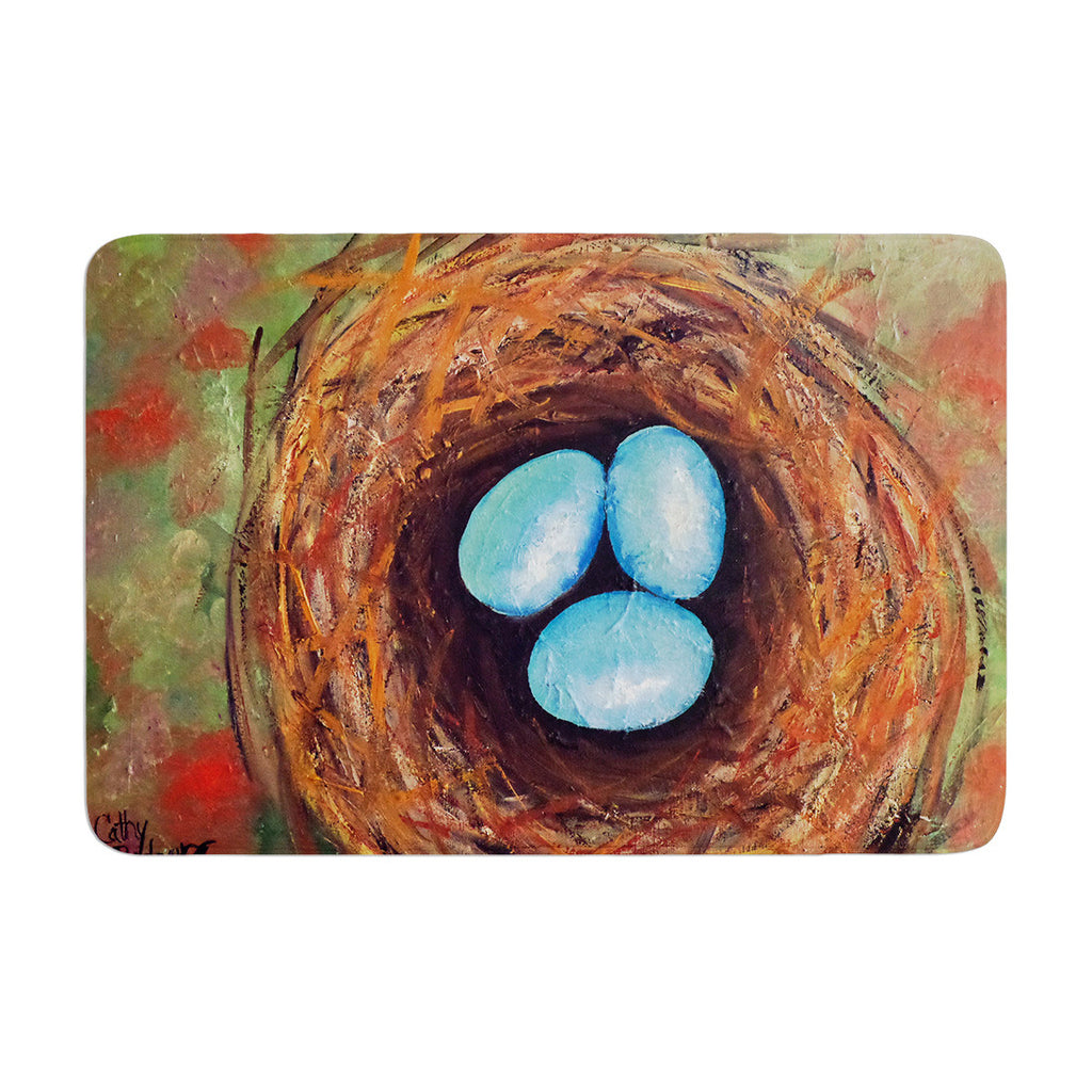 "Cathy Rodgers ""Robins Eggs"" Green Brown Memory Foam Bath Mat - KESS InHouse"