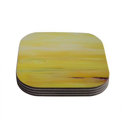 "Cathy Rodgers ""Yellow Sunrise"" Yellow Purple Coasters (Set of 4) - Outlet Item"