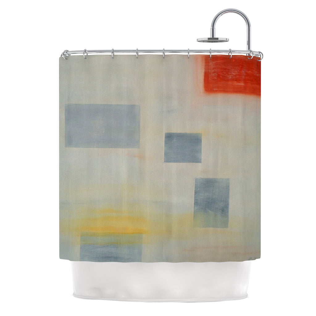 Cathy Rodgers Map To Childhood Gray Blue Shower Curtain