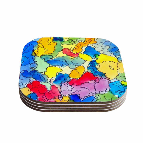 "Cathy Rodgers ""Explorer"" Blue Yellow Coasters (Set of 4) - Outlet Item"