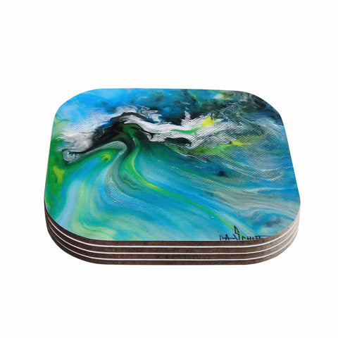 "Carol Schiff ""Turquoise And Green Abstract"" Blue Teal Coasters (Set of 4)"