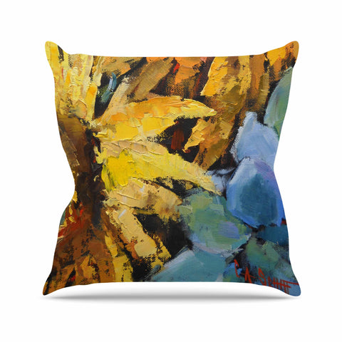 "Carol Schiff ""Sunflowers And Hydrangea"" Yellow Floral Outdoor Throw Pillow - Outlet Item"