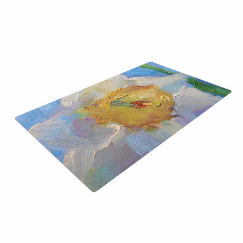 "Carol Schiff ""Daffodil Day"" Yellow Blue Woven Area Rug - Outlet Item"