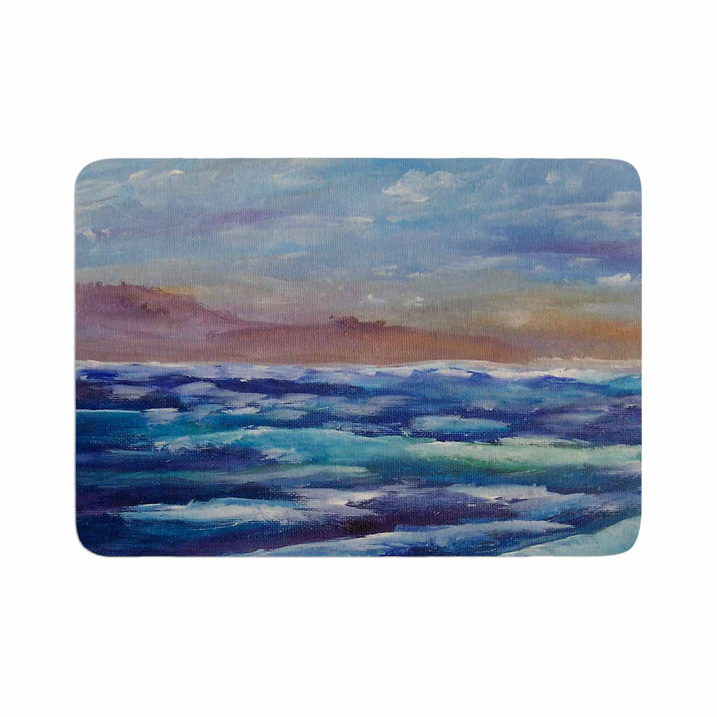 "Cyndi Steen ""Beach Dreams"" Blue Brown Memory Foam Bath Mat - KESS InHouse"