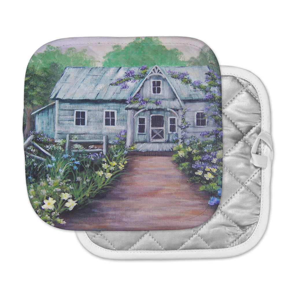"Cyndi Steen ""Ivy Cottage Again"" Gray Purple Pot Holder"