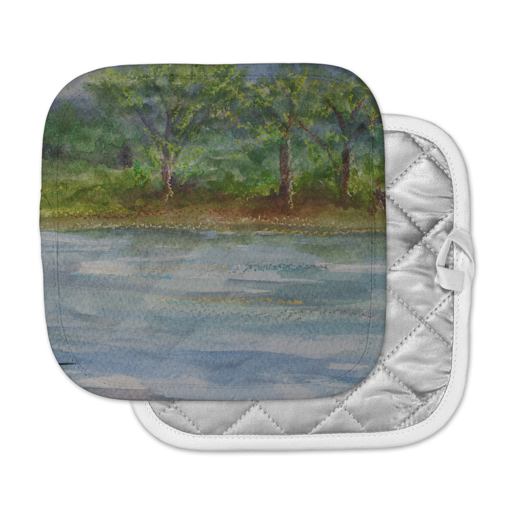 "Cyndi Steen ""Storm On The Pond"" Blue Green Pot Holder"