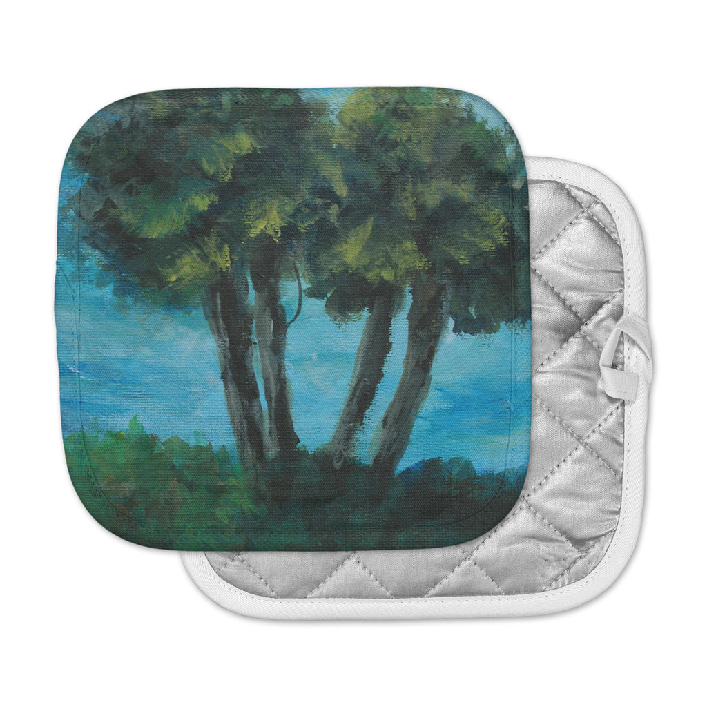 "Cyndi Steen ""Twin Palms"" Blue Green Pot Holder"
