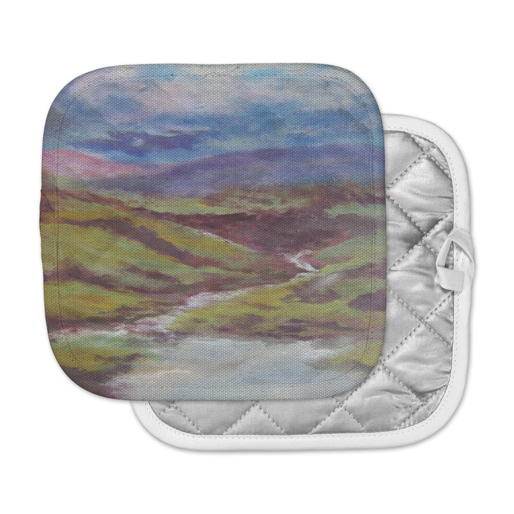 "Cyndi Steen ""Dreaming Of Scotland"" Green Blue Pot Holder"
