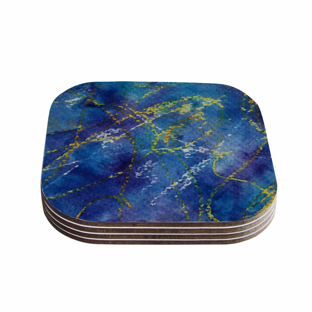 "Cyndi Steen ""Deep Blue"" Yellow Abstract Coasters (Set of 4)"