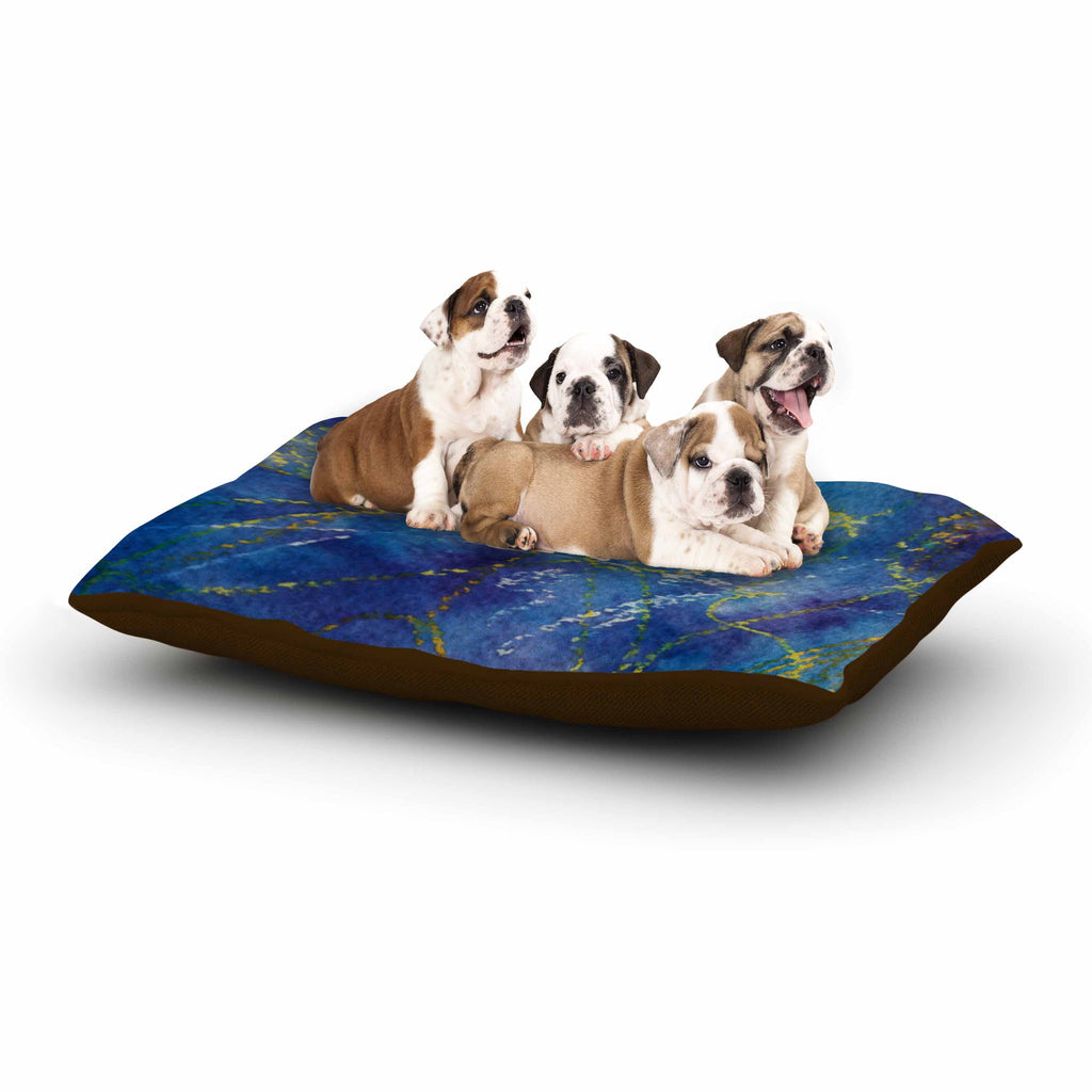 "Cyndi Steen ""Deep Blue"" Yellow Abstract Dog Bed - KESS InHouse  - 1"