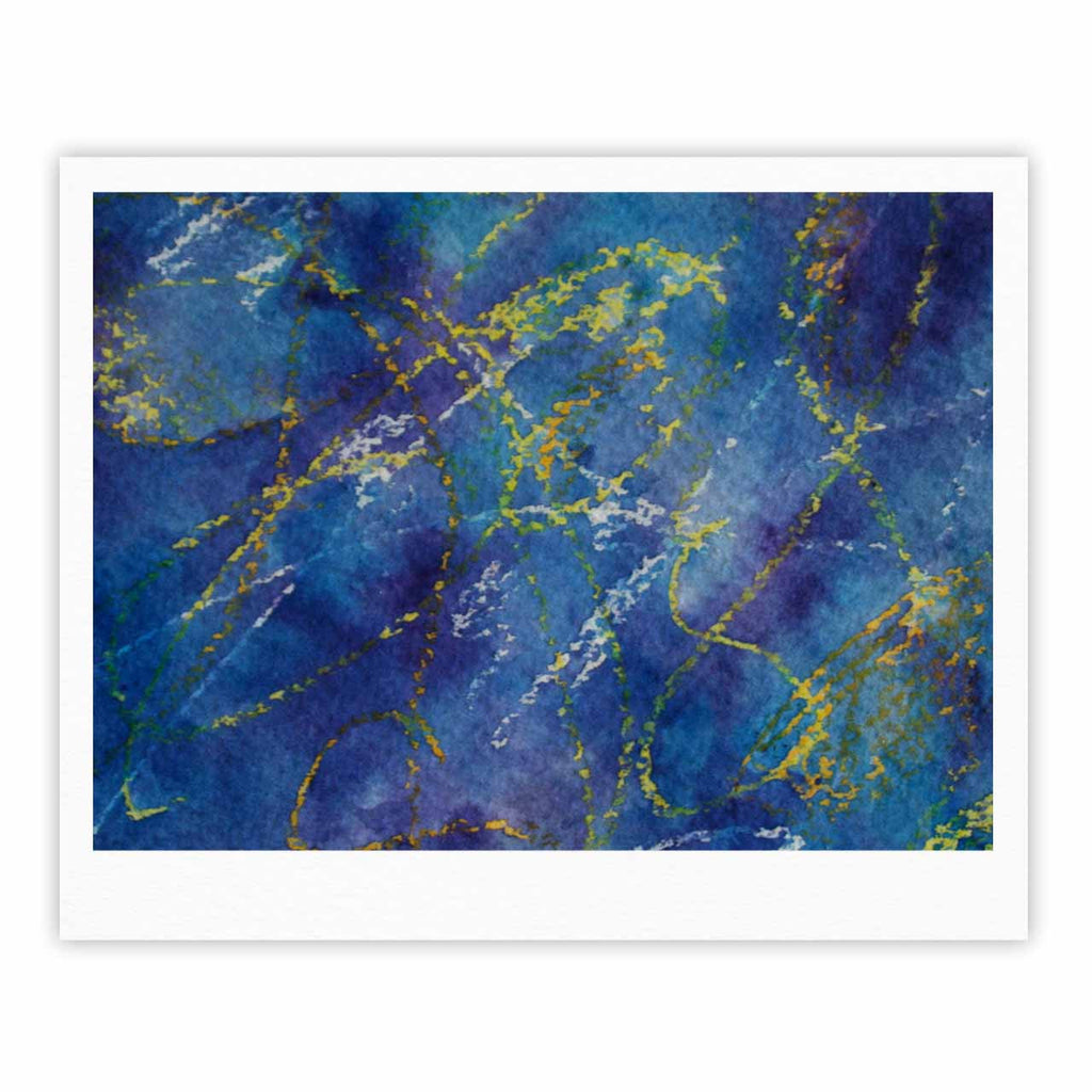 "Cyndi Steen ""Deep Blue"" Yellow Abstract Fine Art Gallery Print - KESS InHouse"