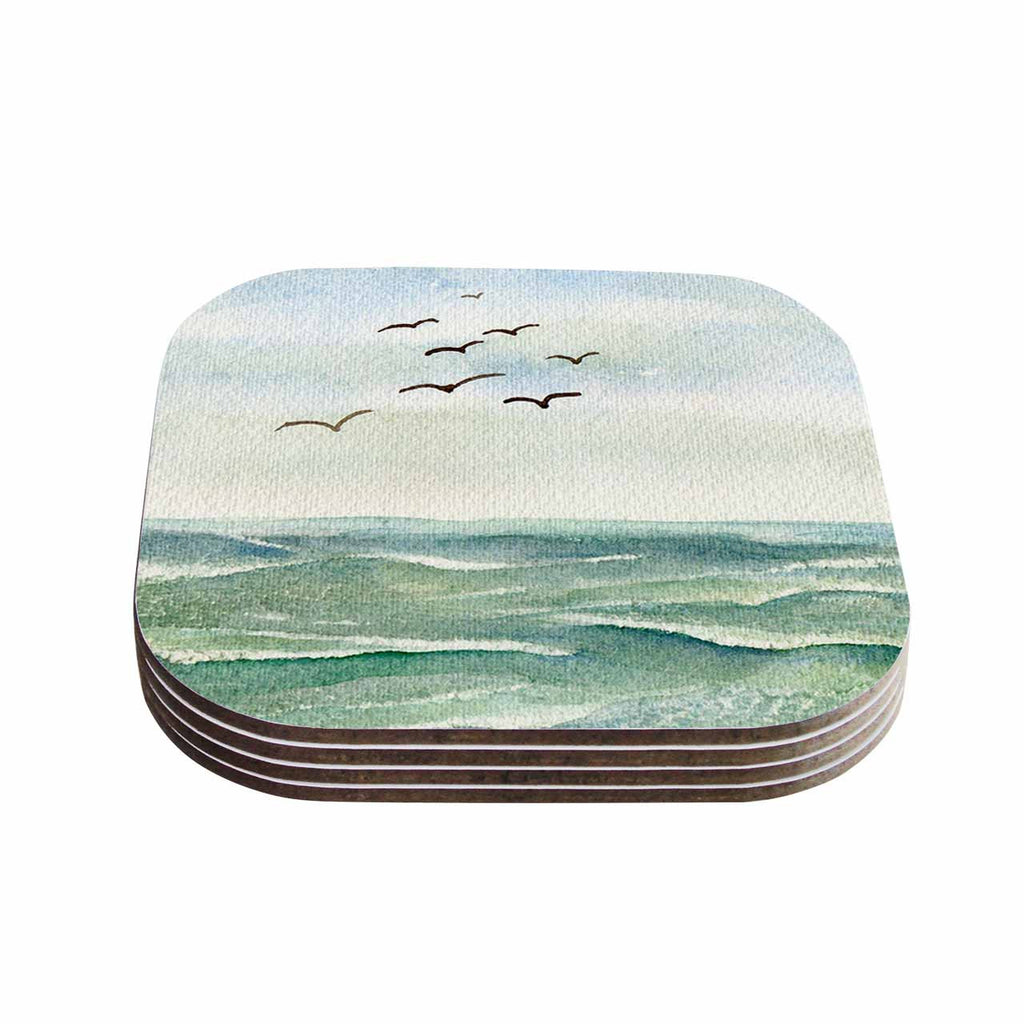 "Cyndi Steen ""Flock Flying Low"" Blue Coastal Coasters (Set of 4)"