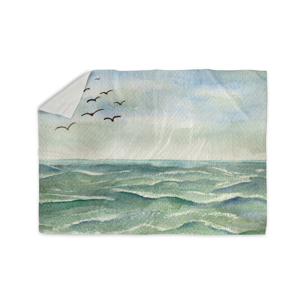 "Cyndi Steen ""Flock Flying Low"" Blue Coastal Sherpa Blanket - KESS InHouse  - 1"