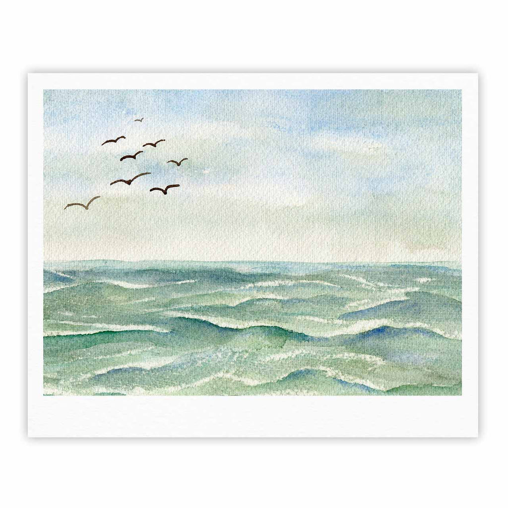 "Cyndi Steen ""Flock Flying Low"" Blue Coastal Fine Art Gallery Print - KESS InHouse"