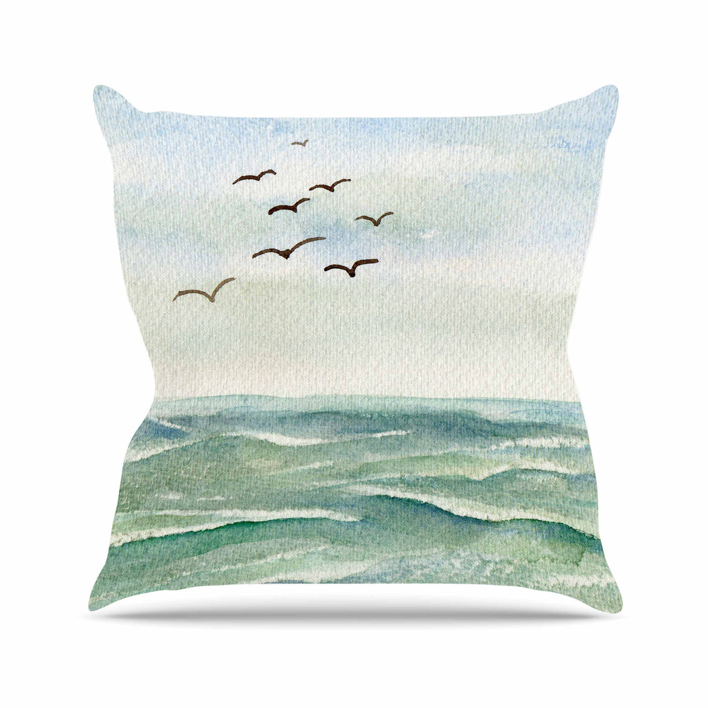 "Cyndi Steen ""Flock Flying Low"" Blue Coastal Outdoor Throw Pillow - KESS InHouse  - 1"