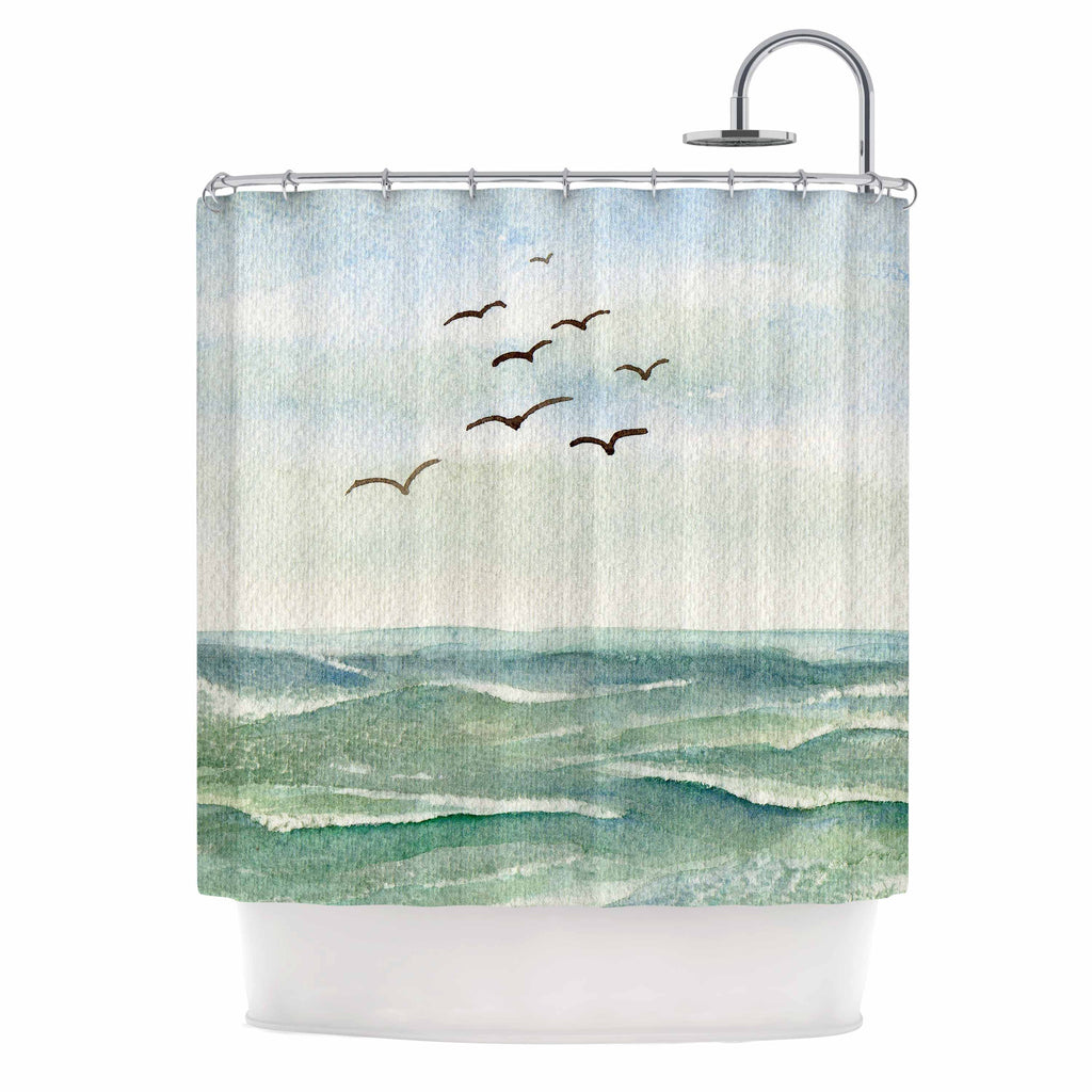 "Cyndi Steen ""Flock Flying Low"" Blue Coastal Shower Curtain - KESS InHouse"