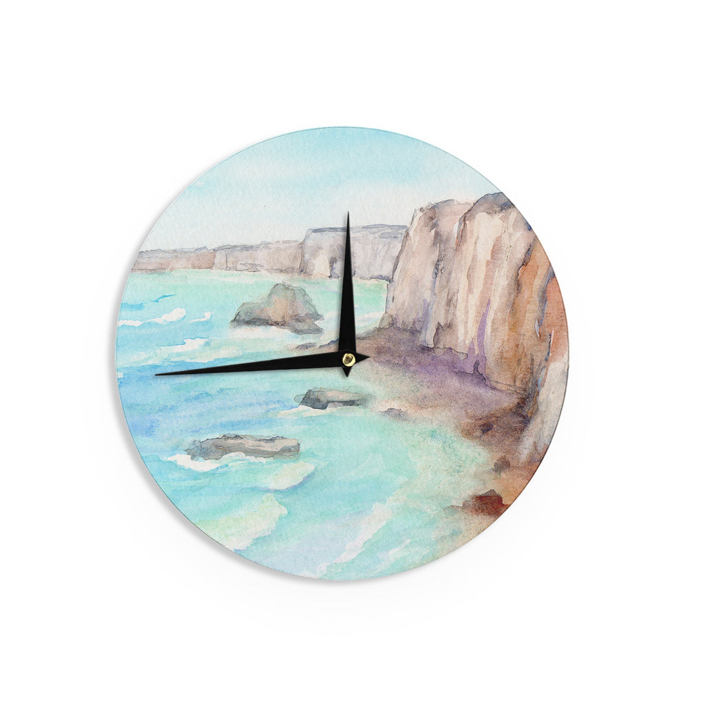 "Cyndi Steen ""Cliffs At Normandie"" Blue Travel Wall Clock - KESS InHouse"