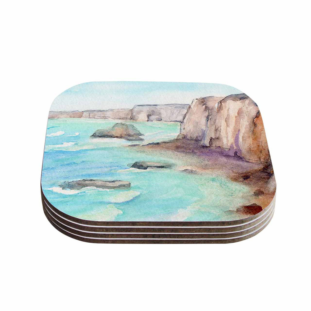 "Cyndi Steen ""Cliffs At Normandie"" Blue Travel Coasters (Set of 4)"