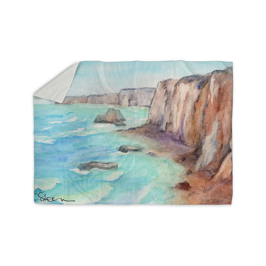 "Cyndi Steen ""Cliffs At Normandie"" Blue Travel Sherpa Blanket - KESS InHouse  - 1"