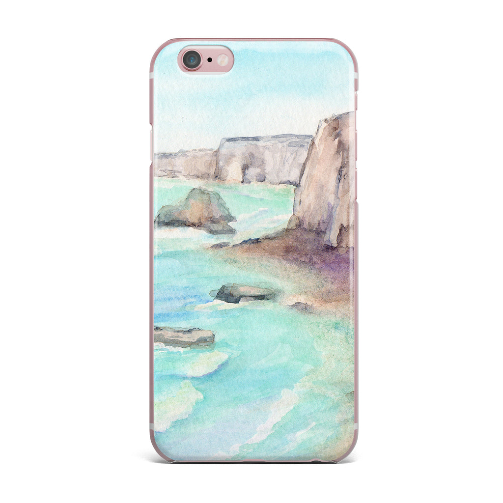 "Cyndi Steen ""Cliffs At Normandie"" Blue Travel iPhone Case - KESS InHouse"