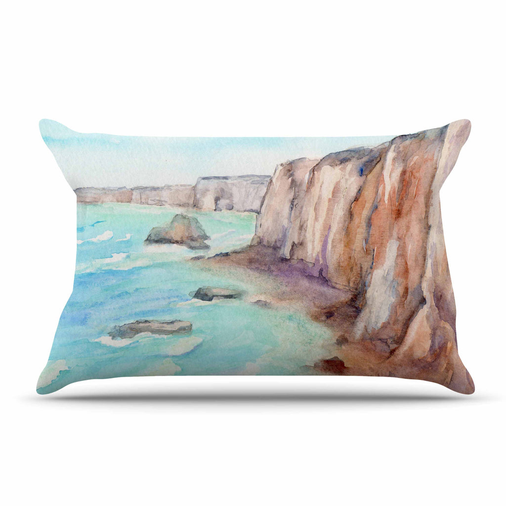 "Cyndi Steen ""Cliffs At Normandie"" Blue Travel Pillow Sham - KESS InHouse  - 1"