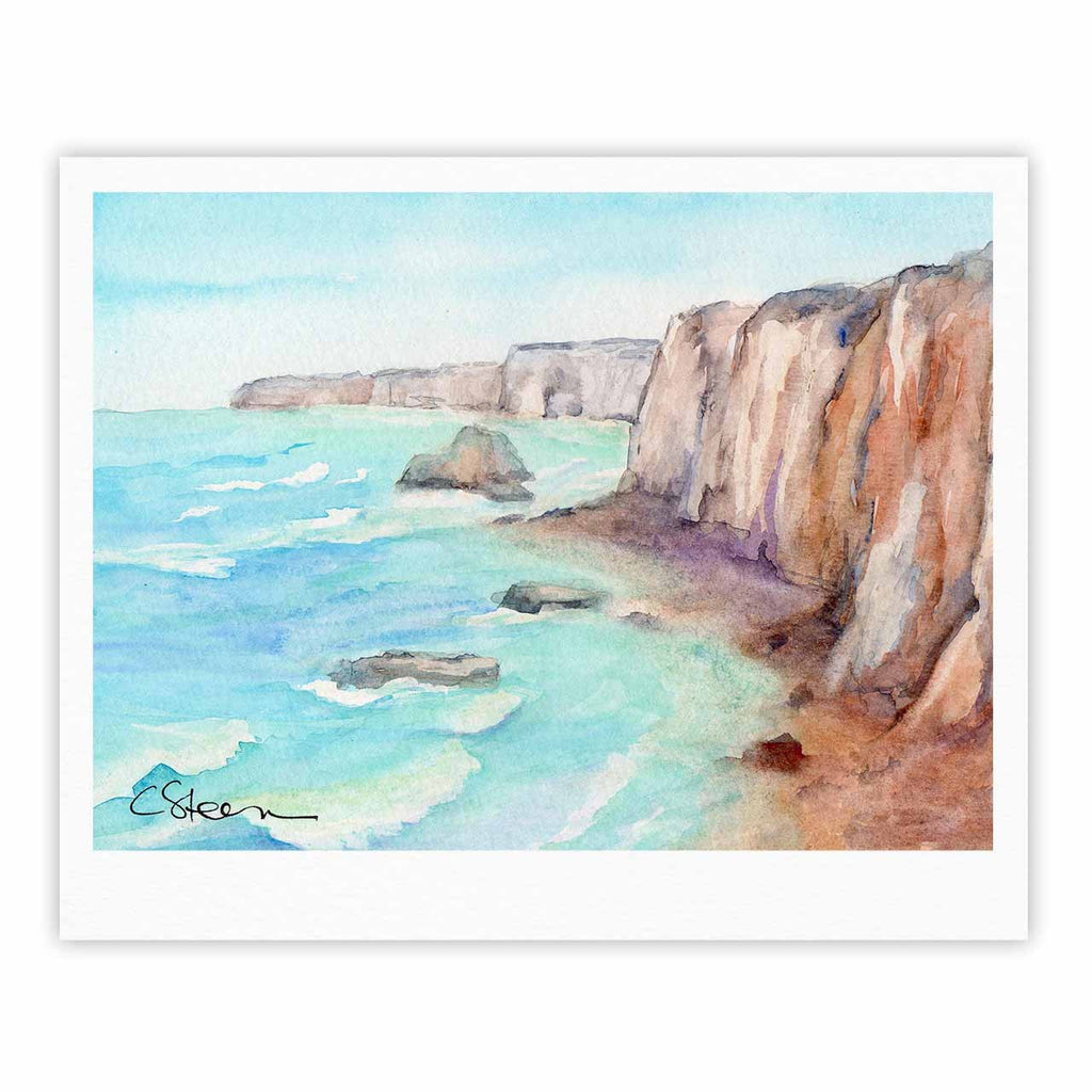 "Cyndi Steen ""Cliffs At Normandie"" Blue Travel Fine Art Gallery Print - KESS InHouse"