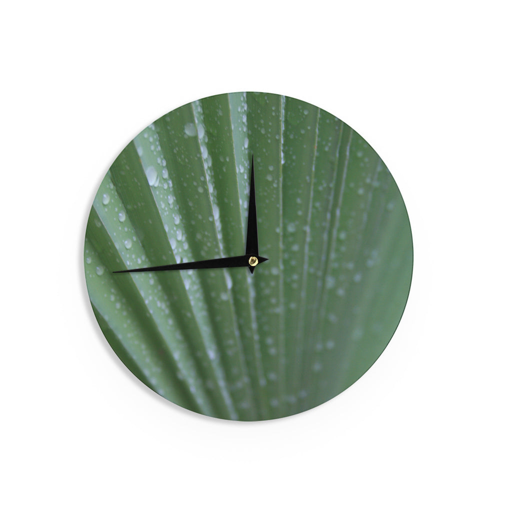 "Cyndi Steen ""Green Palm Frond"" Green Nature Wall Clock - KESS InHouse"