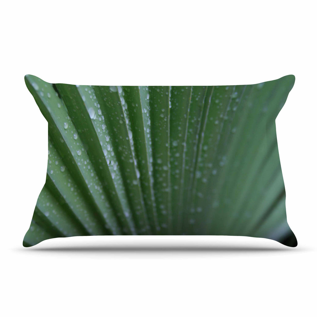 "Cyndi Steen ""Green Palm Frond"" Green Nature Pillow Sham - KESS InHouse  - 1"