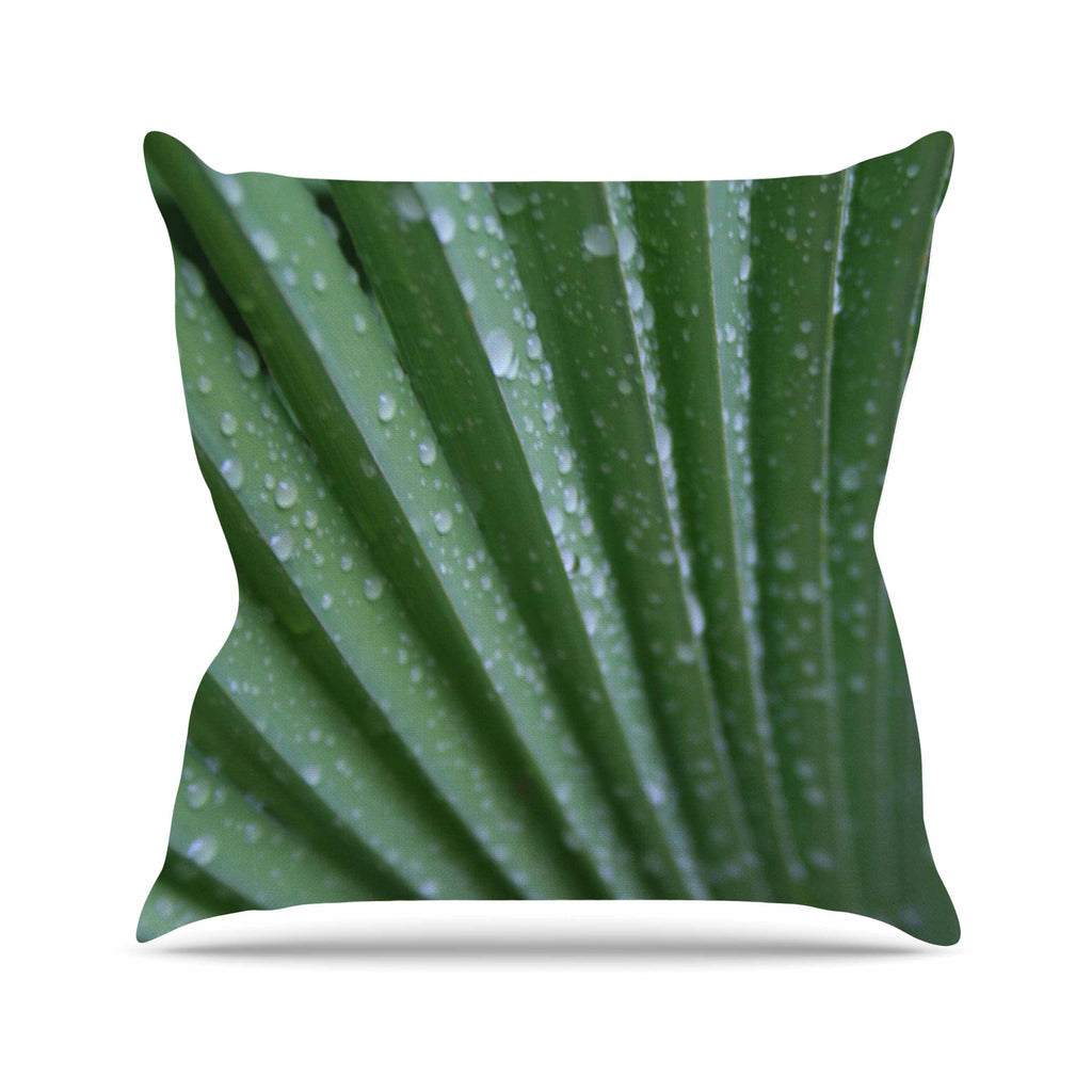 "Cyndi Steen ""Green Palm Frond"" Green Nature Throw Pillow - KESS InHouse  - 1"
