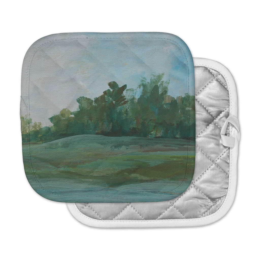 "Cyndi Steen ""Stand Of Trees"" Green Blue Pot Holder"