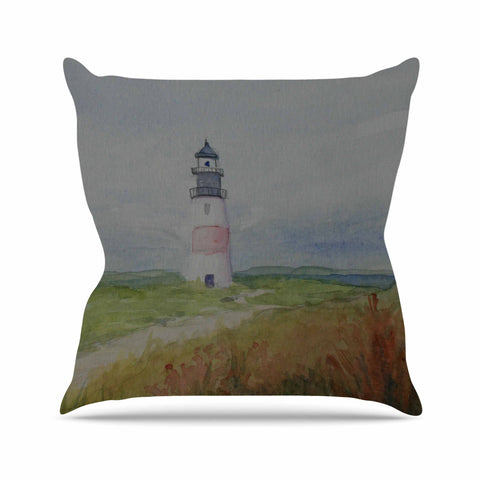 "Cyndi Steen ""Sankaty Lighthouse"" Blue Green Throw Pillow - KESS InHouse  - 1"