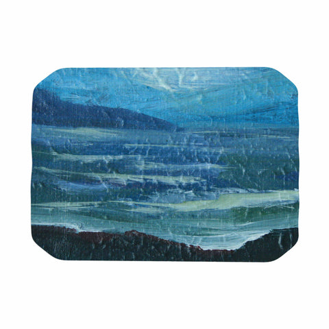 "Cyndi Steen ""Moolight Beach"" Blue White Painting Place Mat"