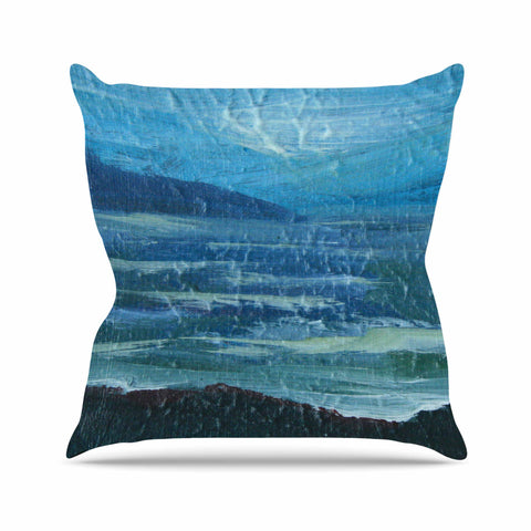 "Cyndi Steen ""Moolight Beach"" Blue White Painting Throw Pillow"