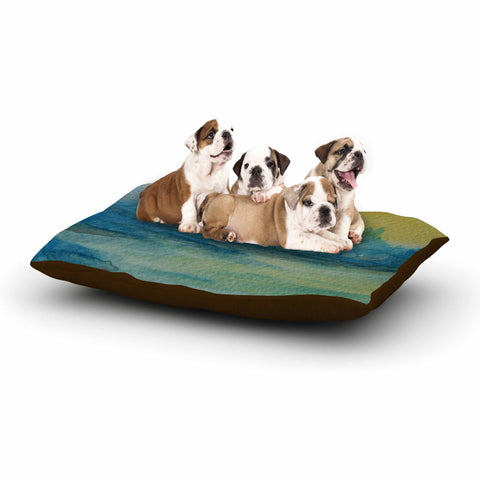 "Cyndi Steen ""Misty Lake"" Yellow Blue Watercolor Dog Bed"