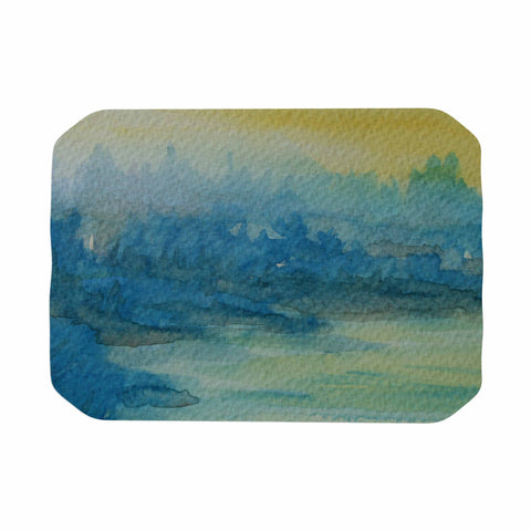 "Cyndi Steen ""Misty Lake"" Yellow Blue Watercolor Place Mat"