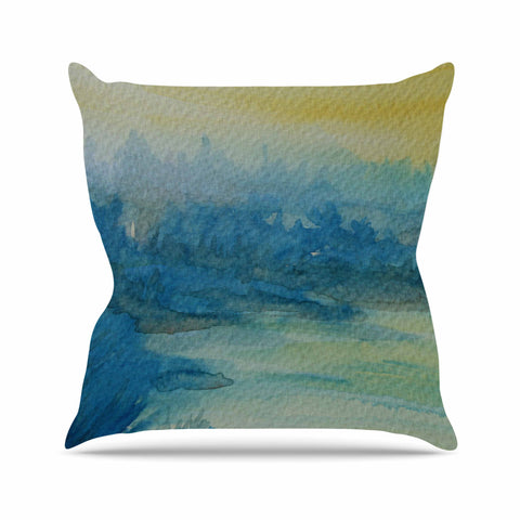 "Cyndi Steen ""Misty Lake"" Yellow Blue Watercolor Throw Pillow"