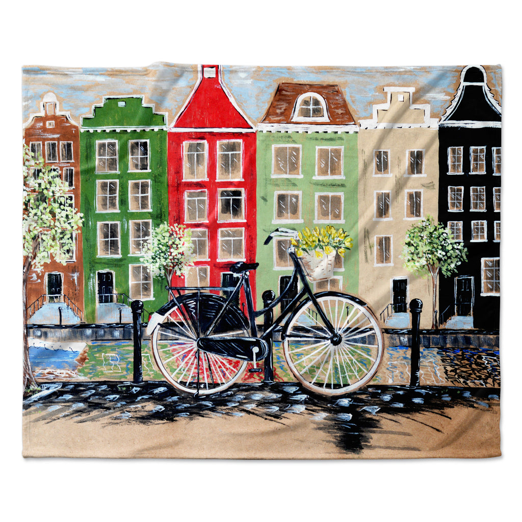 "Christen Treat ""Bicycle"" Fleece Throw Blanket"