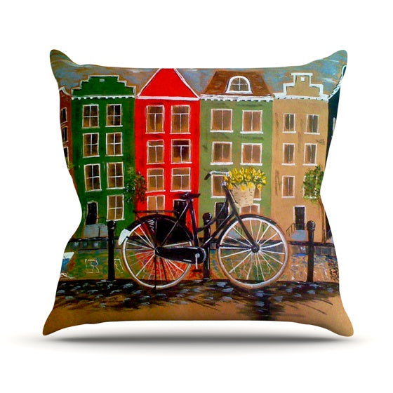 "Christen Treat ""Bicycle"" Throw Pillow - KESS InHouse  - 1"