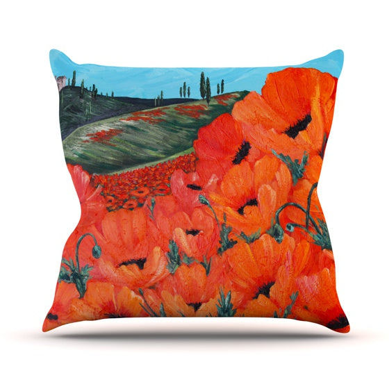 "Christen Treat ""Poppies"" Throw Pillow - KESS InHouse  - 1"